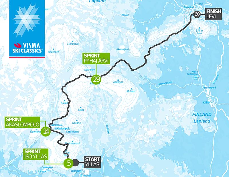 Ylläs-Levi Visma Ski Classics -reittikartta
